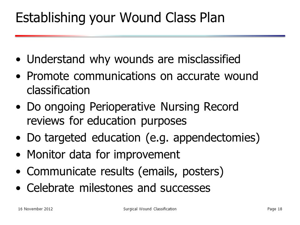 16 November 2012Surgical Wound Classification Establishing your Wound Class Plan Understand why wounds are misclassified Promote communications on accurate wound classification Do ongoing Perioperative Nursing Record reviews for education purposes Do targeted education (e.g.