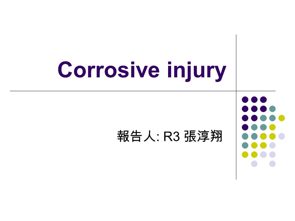 Corrosive injury 報告人 : R3 張淳翔