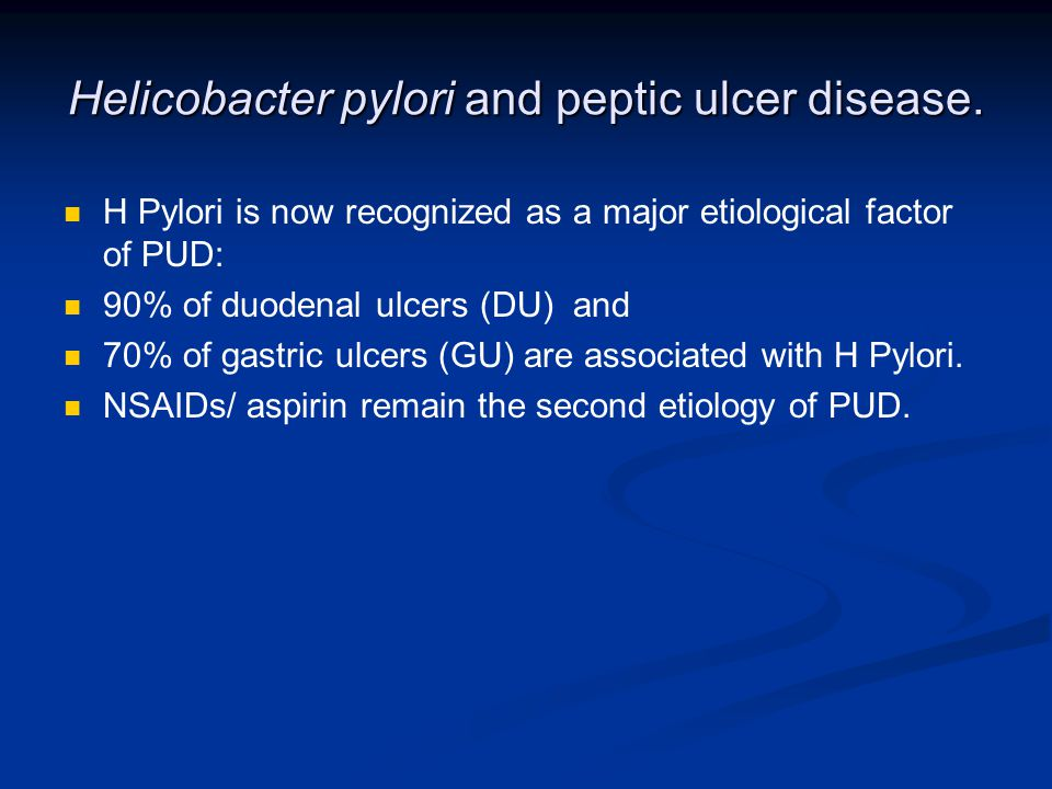 Helicobacter pylori and peptic ulcer disease.