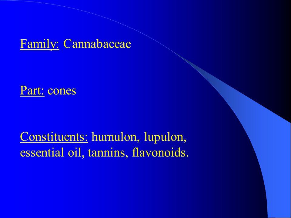 Family: Cannabaceae Part: cones Constituents: humulon, lupulon, essential oil, tannins, flavonoids.