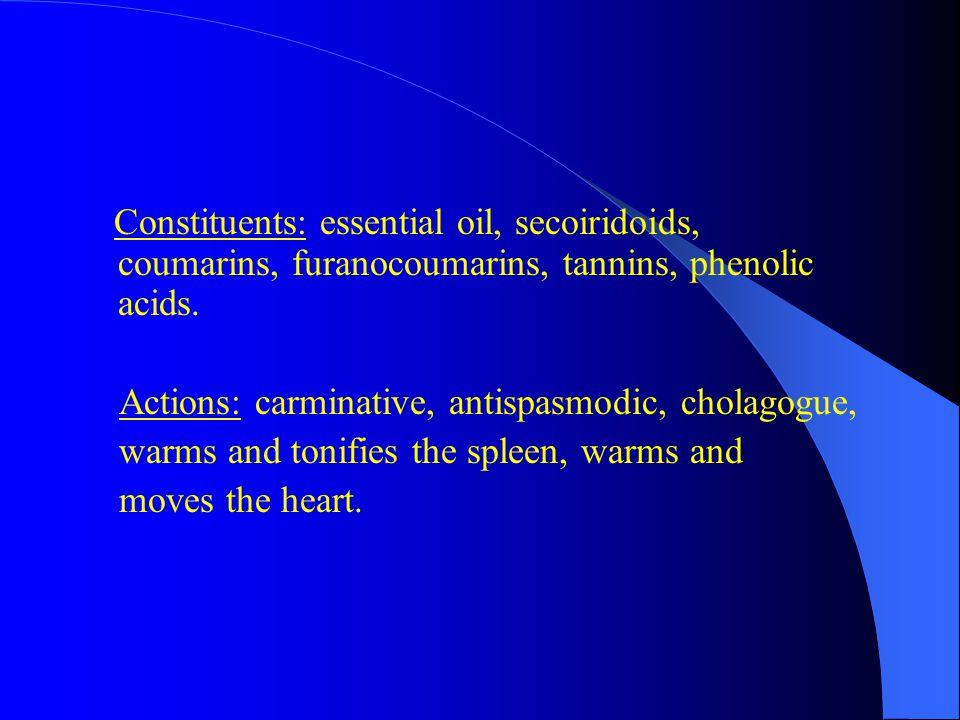 Constituents: essential oil, secoiridoids, coumarins, furanocoumarins, tannins, phenolic acids.