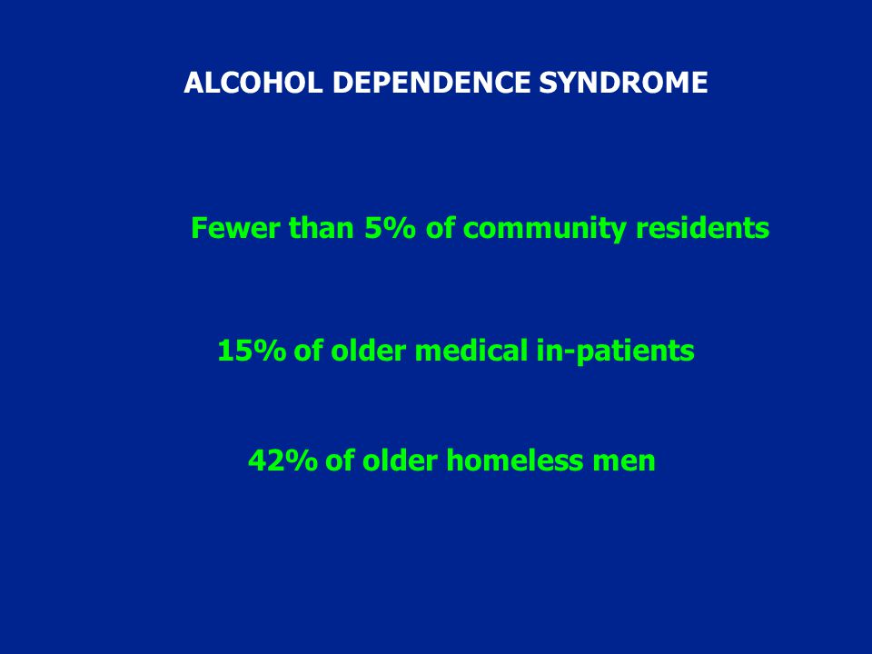 42% of older homeless men 15% of older medical in-patients Fewer than 5% of community residents ALCOHOL DEPENDENCE SYNDROME