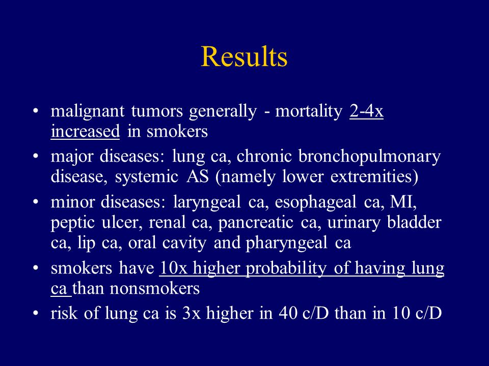 Results malignant tumors generally - mortality 2-4x increased in smokers major diseases: lung ca, chronic bronchopulmonary disease, systemic AS (namel