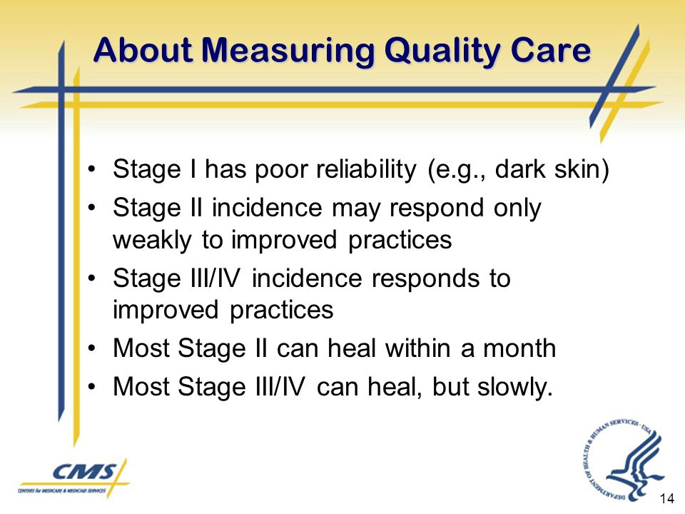 14 About Measuring Quality Care Stage I has poor reliability (e.g., dark skin) Stage II incidence may respond only weakly to improved practices Stage III/IV incidence responds to improved practices Most Stage II can heal within a month Most Stage III/IV can heal, but slowly.