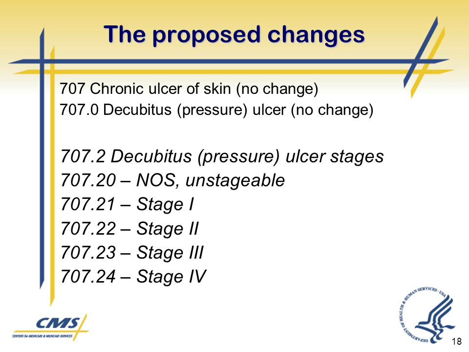 18 The proposed changes 707 Chronic ulcer of skin (no change) 707.0 Decubitus (pressure) ulcer (no change) 707.2 Decubitus (pressure) ulcer stages 707.20 – NOS, unstageable 707.21 – Stage I 707.22 – Stage II 707.23 – Stage III 707.24 – Stage IV