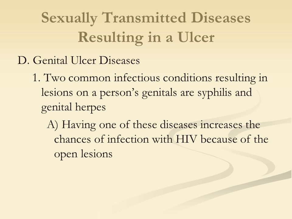 Sexually Transmitted Diseases Resulting in a Ulcer D.