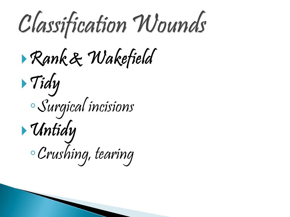  Rank & Wakefield  Tidy ◦ Surgical incisions  Untidy ◦ Crushing, tearing