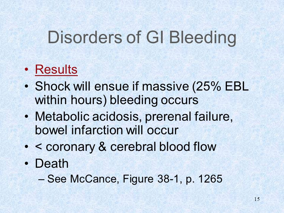 15 Disorders of GI Bleeding Results Shock will ensue if massive (25% EBL within hours) bleeding occurs Metabolic acidosis, prerenal failure, bowel inf