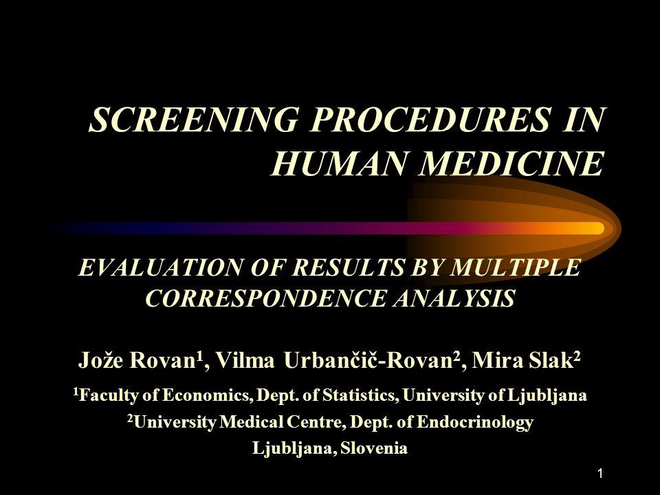 1 SCREENING PROCEDURES IN HUMAN MEDICINE EVALUATION OF RESULTS BY MULTIPLE CORRESPONDENCE ANALYSIS Jože Rovan 1, Vilma Urbančič-Rovan 2, Mira Slak 2 1 Faculty of Economics, Dept.