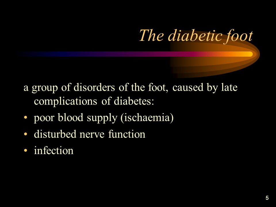 6 Gangrene and amputation are among the most feared complications of diabetes mellitus: 50% of all non-traumatic amputations are performed on diabetics foot ulcer develops in 15% of the diabetics very often, gangrene and amputation of one leg are followed by gangrene and amputation of the other.