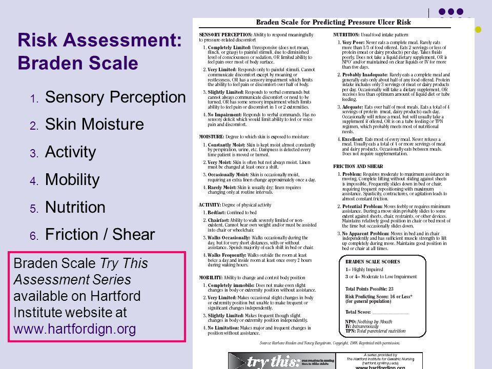 6 Risk Assessment: Braden Scale 1. Sensory Perception 2. Skin Moisture 3. Activity 4. Mobility 5. Nutrition 6. Friction / Shear Braden Scale Try This