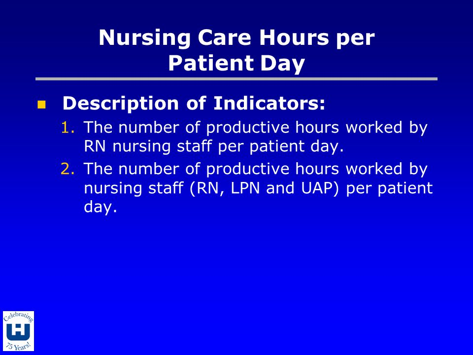 Nursing Care Hours per Patient Day Description of Indicators: 1.The number of productive hours worked by RN nursing staff per patient day.