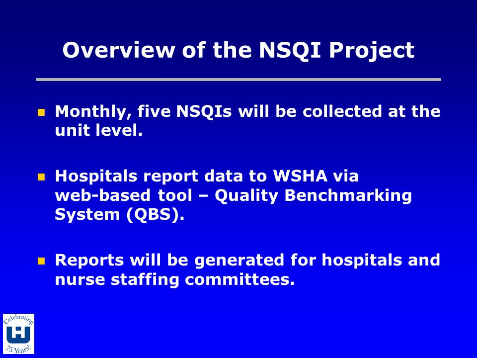 Overview of the NSQI Project Monthly, five NSQIs will be collected at the unit level.