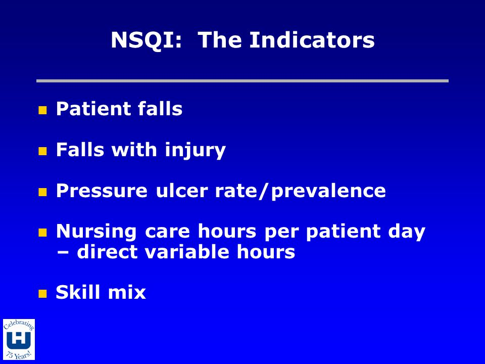 NSQI: The Indicators Patient falls Falls with injury Pressure ulcer rate/prevalence Nursing care hours per patient day – direct variable hours Skill m
