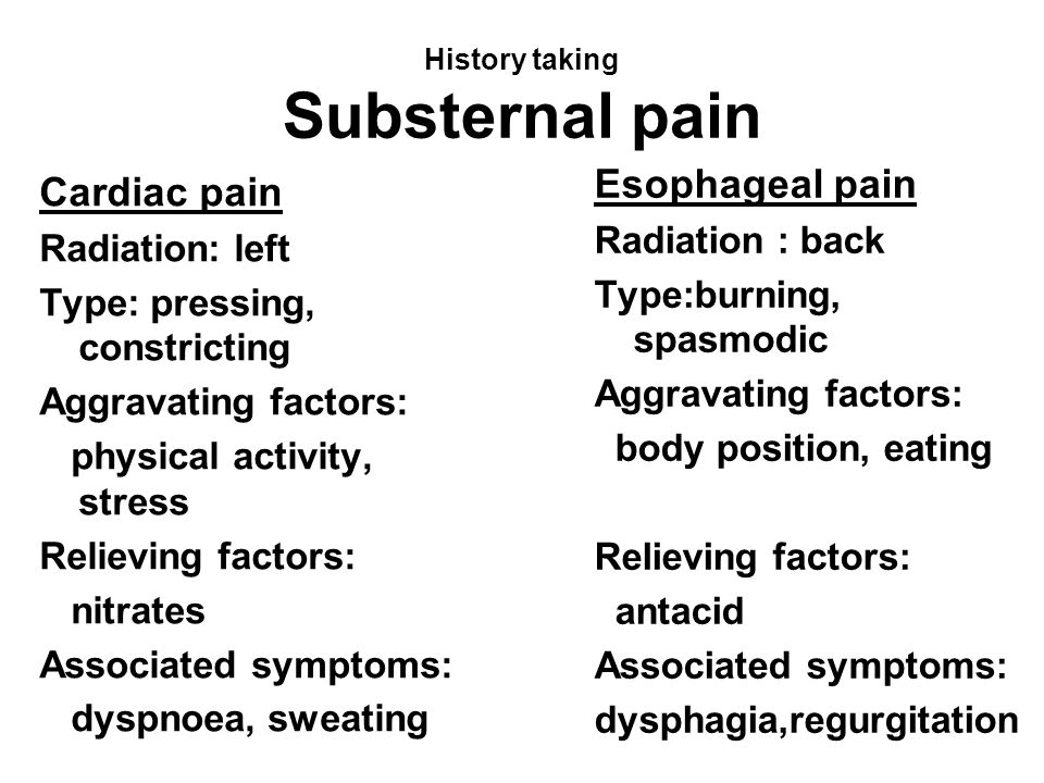 History taking Substernal pain Cardiac pain Radiation: left Type: pressing, constricting Aggravating factors: physical activity, stress Relieving fact
