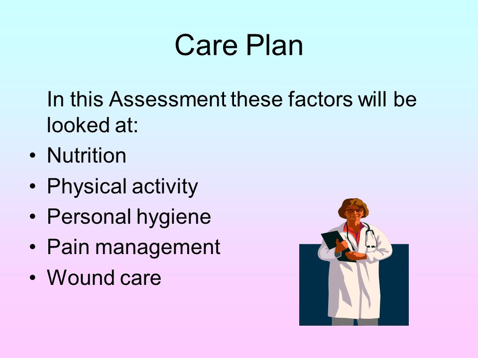 Care Plan In this Assessment these factors will be looked at: Nutrition Physical activity Personal hygiene Pain management Wound care