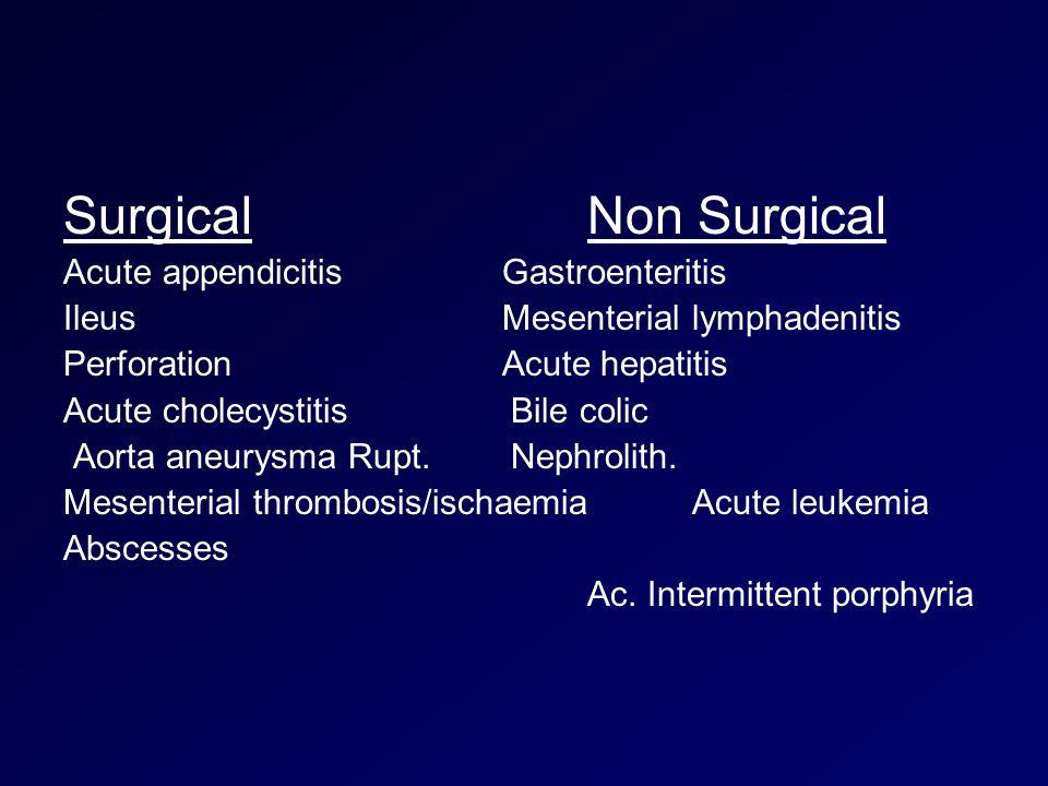 SurgicalNon Surgical Acute appendicitis Gastroenteritis Ileus Mesenterial lymphadenitis Perforation Acute hepatitis Acute cholecystitis Bile colic Aorta aneurysma Rupt.