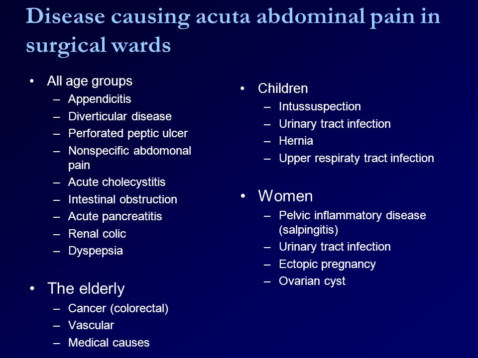 Disease causing acuta abdominal pain in surgical wards All age groups –Appendicitis –Diverticular disease –Perforated peptic ulcer –Nonspecific abdomonal pain –Acute cholecystitis –Intestinal obstruction –Acute pancreatitis –Renal colic –Dyspepsia The elderly –Cancer (colorectal) –Vascular –Medical causes Children –Intussuspection –Urinary tract infection –Hernia –Upper respiraty tract infection Women –Pelvic inflammatory disease (salpingitis) –Urinary tract infection –Ectopic pregnancy –Ovarian cyst