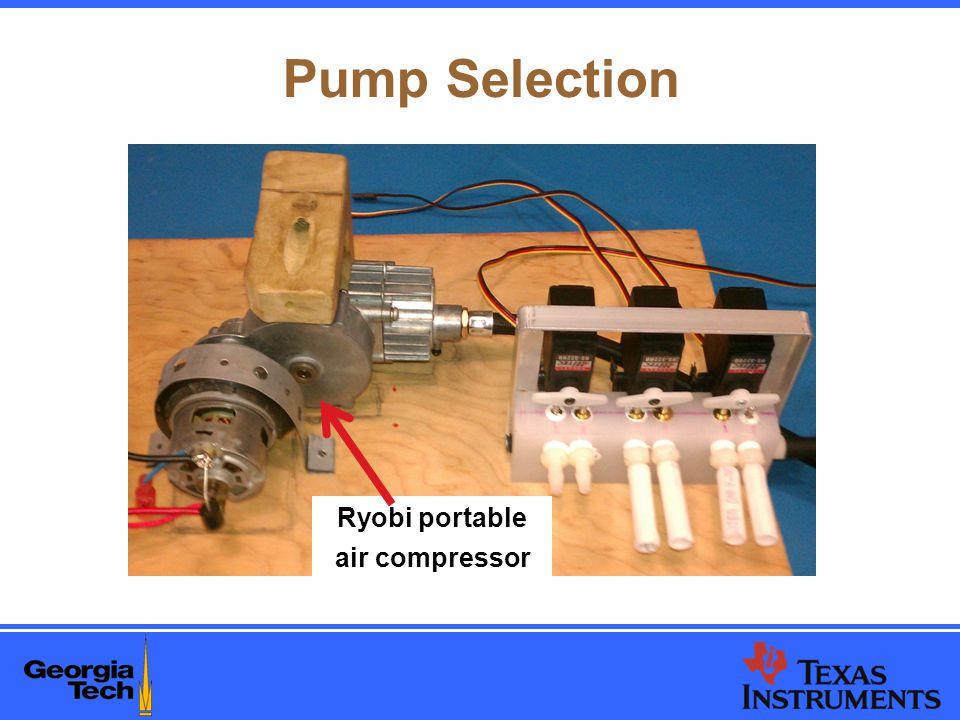 Pump Selection Ryobi portable air compressor