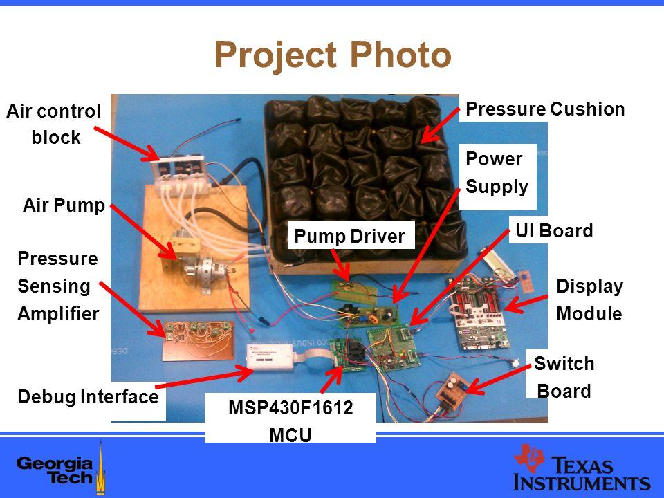 Project Photo Air control block Air Pump Pressure Sensing Amplifier Debug Interface Pressure Cushion Power Supply Pump Driver UI Board Display Module