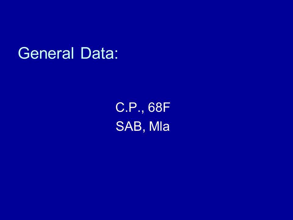 General Data: C.P., 68F SAB, Mla