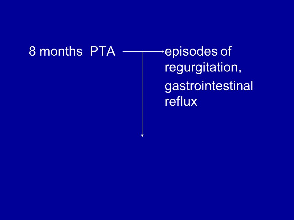 8 months PTA episodes of regurgitation, gastrointestinal reflux