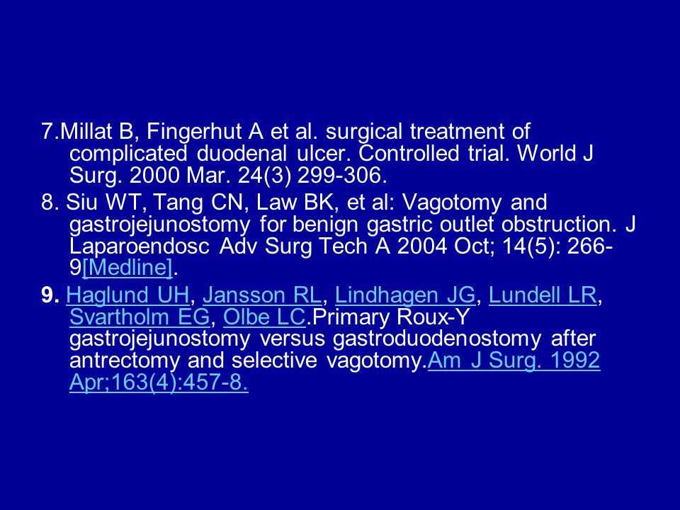 7.Millat B, Fingerhut A et al. surgical treatment of complicated duodenal ulcer.