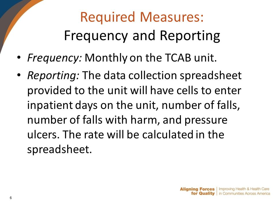 6 Required Measures: Frequency and Reporting Frequency: Monthly on the TCAB unit.