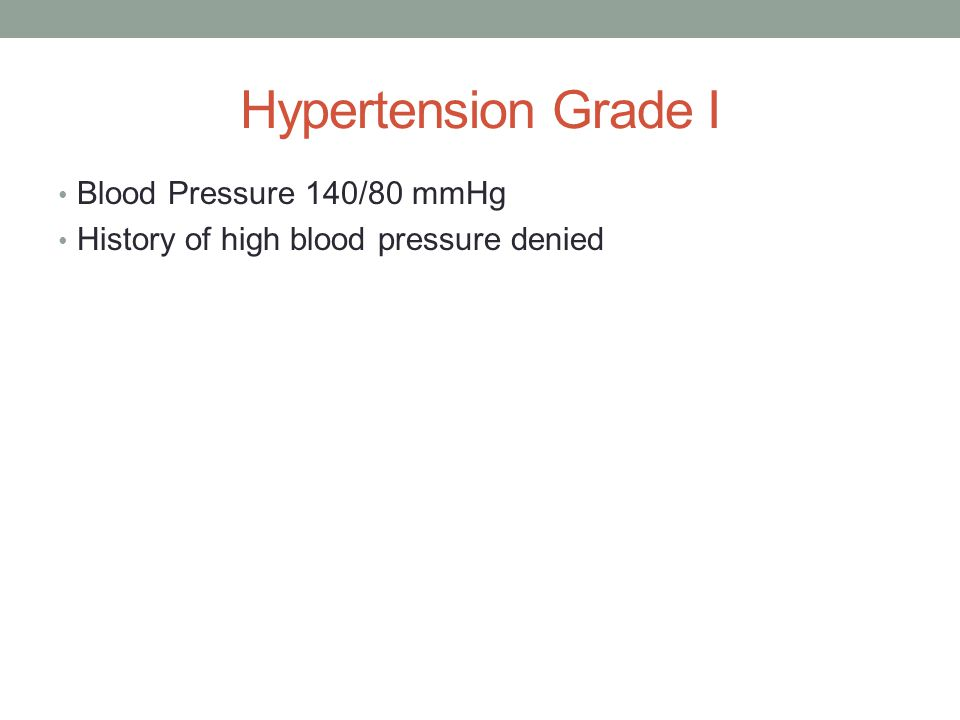 Hypertension Grade I Blood Pressure 140/80 mmHg History of high blood pressure denied