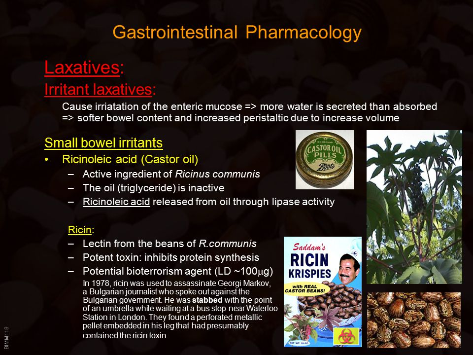 BIMM118 Gastrointestinal Pharmacology Laxatives: Irritant laxatives: Cause irriatation of the enteric mucose => more water is secreted than absorbed => softer bowel content and increased peristaltic due to increase volume Small bowel irritants Ricinoleic acid (Castor oil) –Active ingredient of Ricinus communis –The oil (triglyceride) is inactive –Ricinoleic acid released from oil through lipase activity Ricin: –Lectin from the beans of R.communis –Potent toxin: inhibits protein synthesis –Potential bioterrorism agent (LD ~100  g) In 1978, ricin was used to assassinate Georgi Markov, a Bulgarian journalist who spoke out against the Bulgarian government.