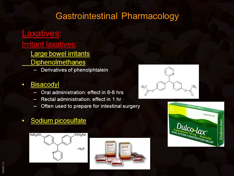 BIMM118 Gastrointestinal Pharmacology Laxatives: Irritant laxatives: Large bowel irritants Diphenolmethanes –Derivatives of phenolphtalein Bisacodyl –Oral administration: effect in 6-8 hrs –Rectal administration: effect in 1 hr –Often used to prepare for intestinal surgery Sodium picosulfate