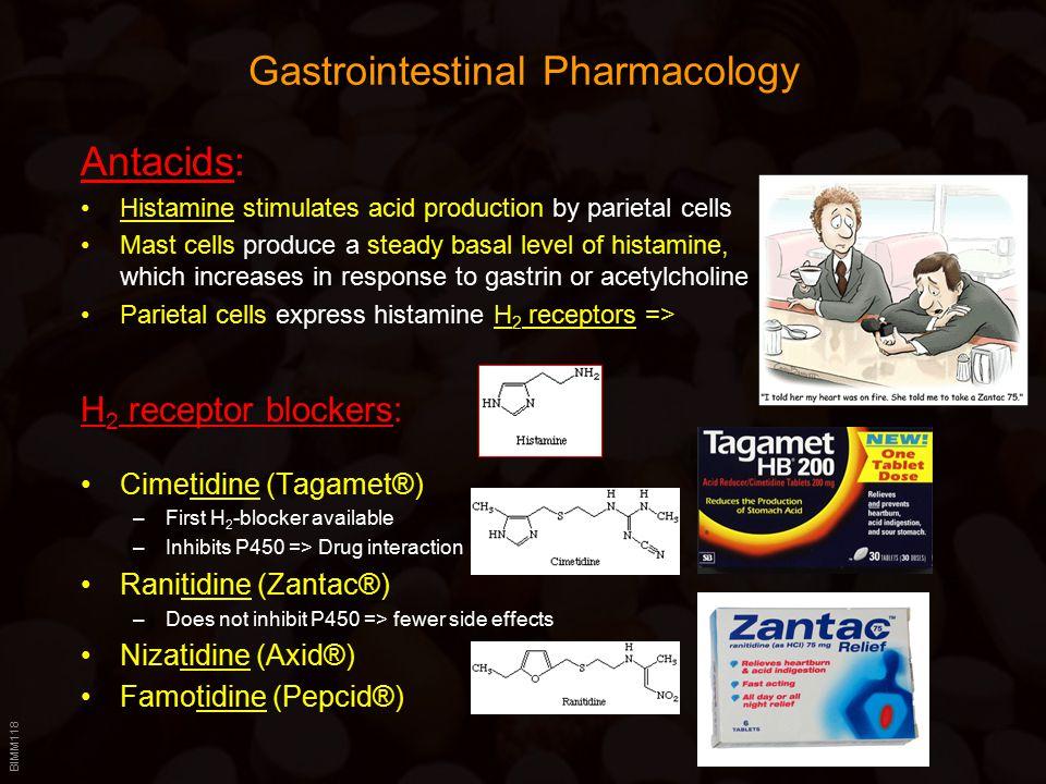 BIMM118 Gastrointestinal Pharmacology Antacids: Histamine stimulates acid production by parietal cells Mast cells produce a steady basal level of hist