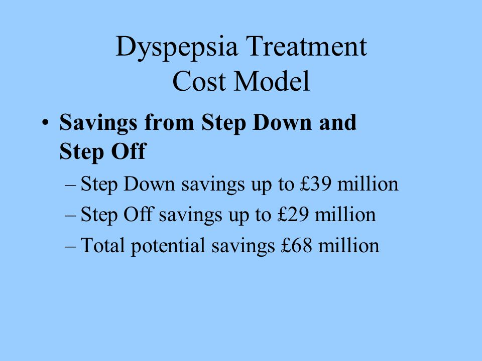 Dyspepsia Treatment Cost Model Savings from Step Down and Step Off –Step Down savings up to £39 million –Step Off savings up to £29 million –Total potential savings £68 million
