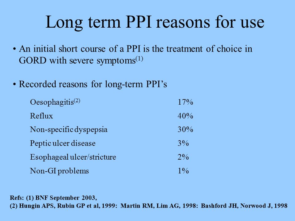 Long term PPI reasons for use Oesophagitis (2) 17% Reflux40% Non-specific dyspepsia30% Peptic ulcer disease3% Esophageal ulcer/stricture2% Non-GI problems1% Refs: (1) BNF September 2003, (2) Hungin APS, Rubin GP et al, 1999: Martin RM, Lim AG, 1998: Bashford JH, Norwood J, 1998 An initial short course of a PPI is the treatment of choice in GORD with severe symptoms (1) Recorded reasons for long-term PPI's