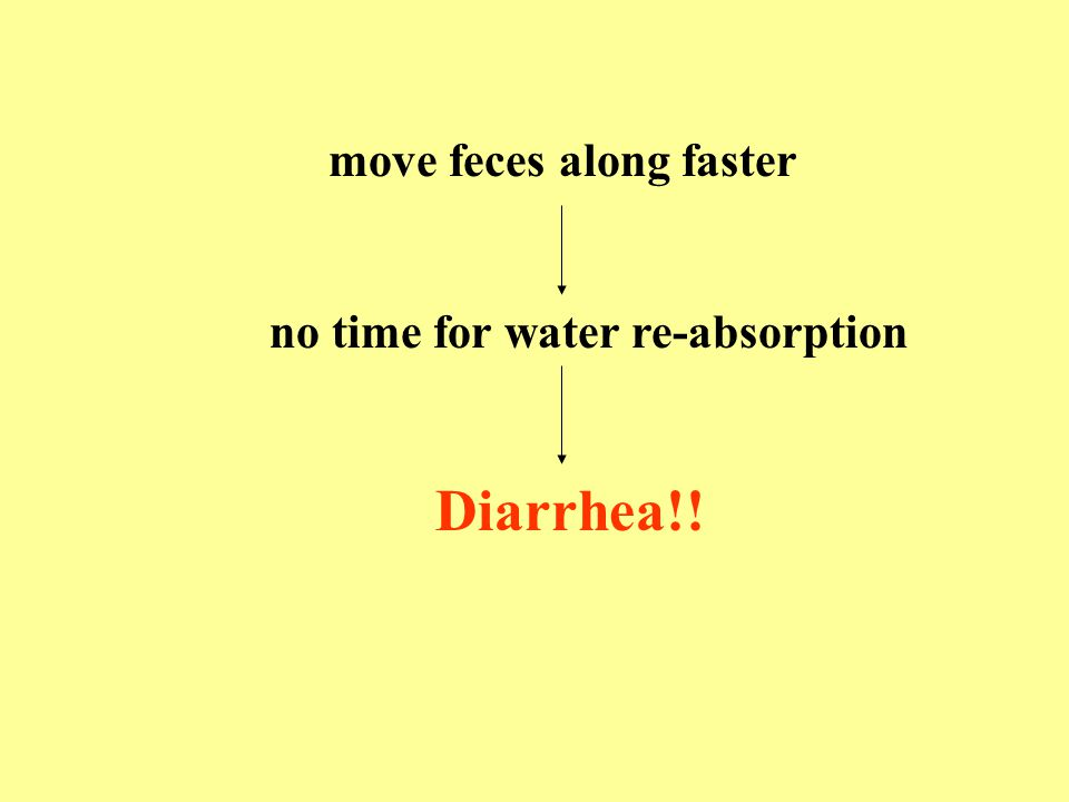 move feces along faster no time for water re-absorption Diarrhea!!