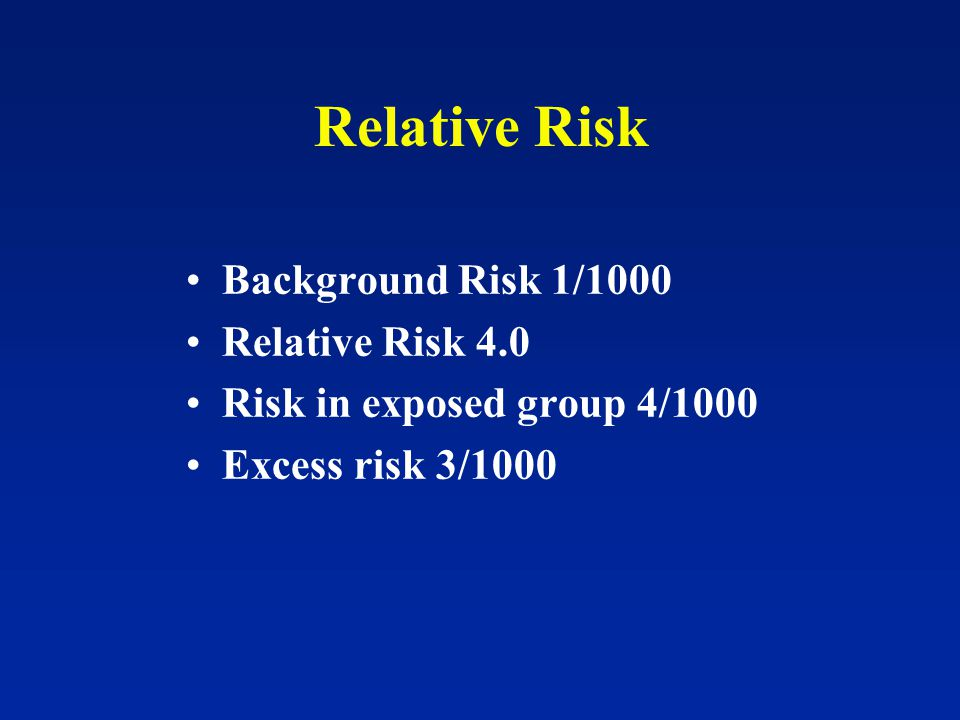 Relative Risk Background Risk 1/1000 Relative Risk 4.0 Risk in exposed group 4/1000 Excess risk 3/1000