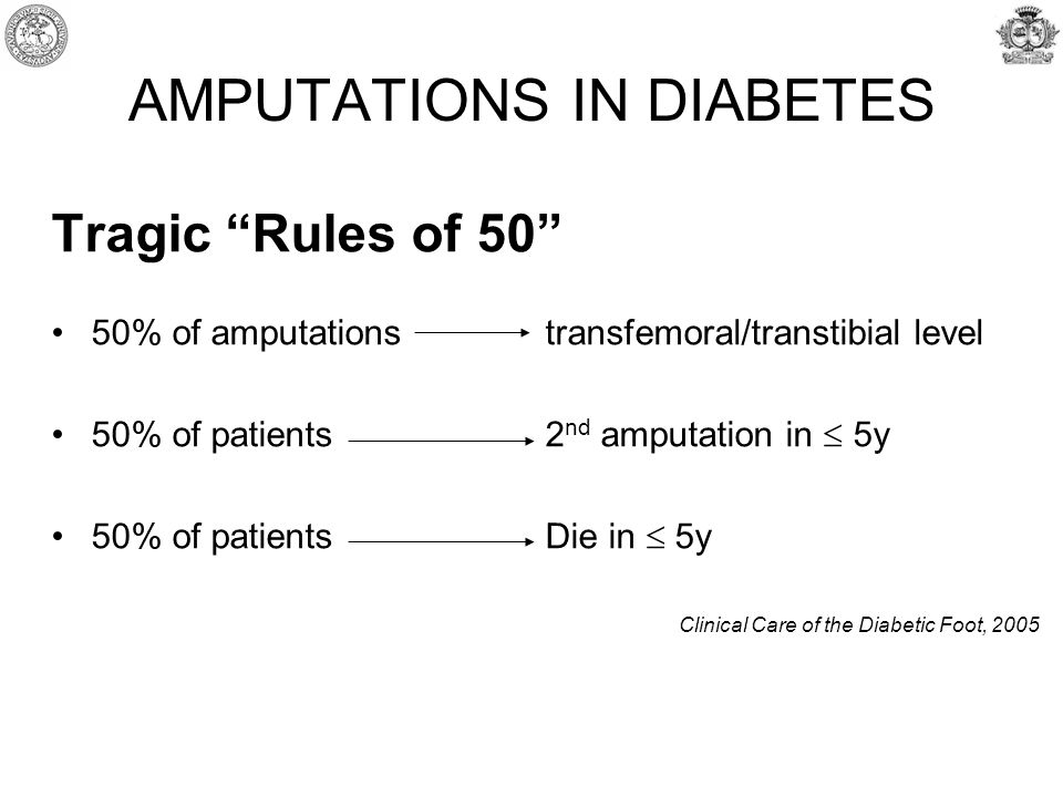 AMPUTATIONS IN DIABETES Tragic Rules of 50 50% of amputations transfemoral/transtibial level 50% of patients 2 nd amputation in  5y 50% of patients Die in  5y Clinical Care of the Diabetic Foot, 2005