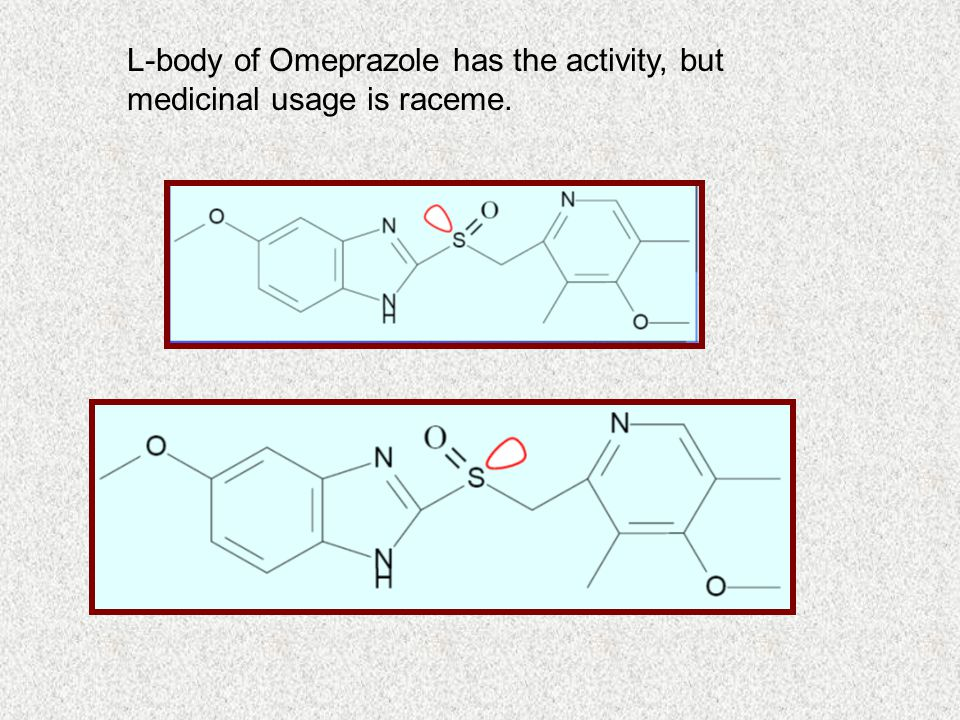 L-body of Omeprazole has the activity, but medicinal usage is raceme.