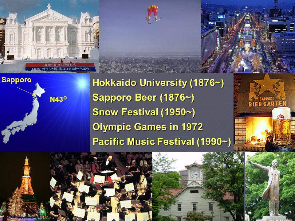 Sapporo N43° Hokkaido University (1876~) Sapporo Beer (1876~) Snow Festival (1950~) Olympic Games in 1972 Pacific Music Festival (1990~)