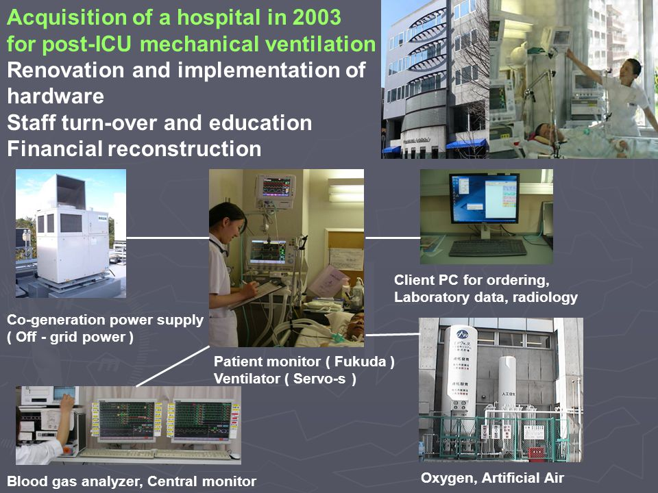 Acquisition of a hospital in 2003 for post-ICU mechanical ventilation Renovation and implementation of hardware Staff turn-over and education Financial reconstruction Co-generation power supply ( Off - grid power ) Oxygen, Artificial Air Patient monitor ( Fukuda ) Ventilator ( Servo-s ) Blood gas analyzer, Central monitor Client PC for ordering, Laboratory data, radiology