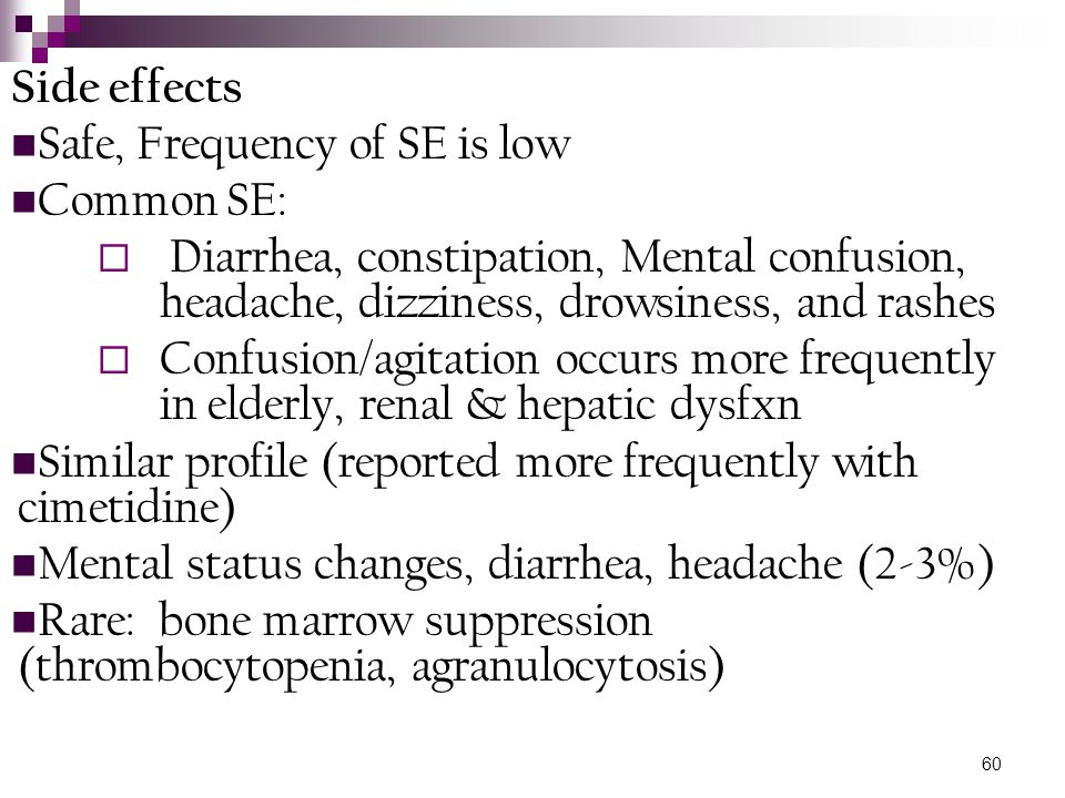 60 Side effects Safe, Frequency of SE is low Common SE:  Diarrhea, constipation, Mental confusion, headache, dizziness, drowsiness, and rashes  Conf