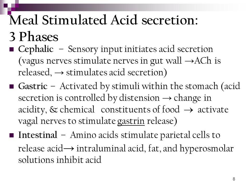 9 Pepsin and Pepsinogen: Gastric mucosal cells secrete proenzymes: pepsinogen I &II During the cephalic, gastric, & intestinal phases, the factors which stimulate or inhibit acid exert the same effects on pepsinogen secretion.