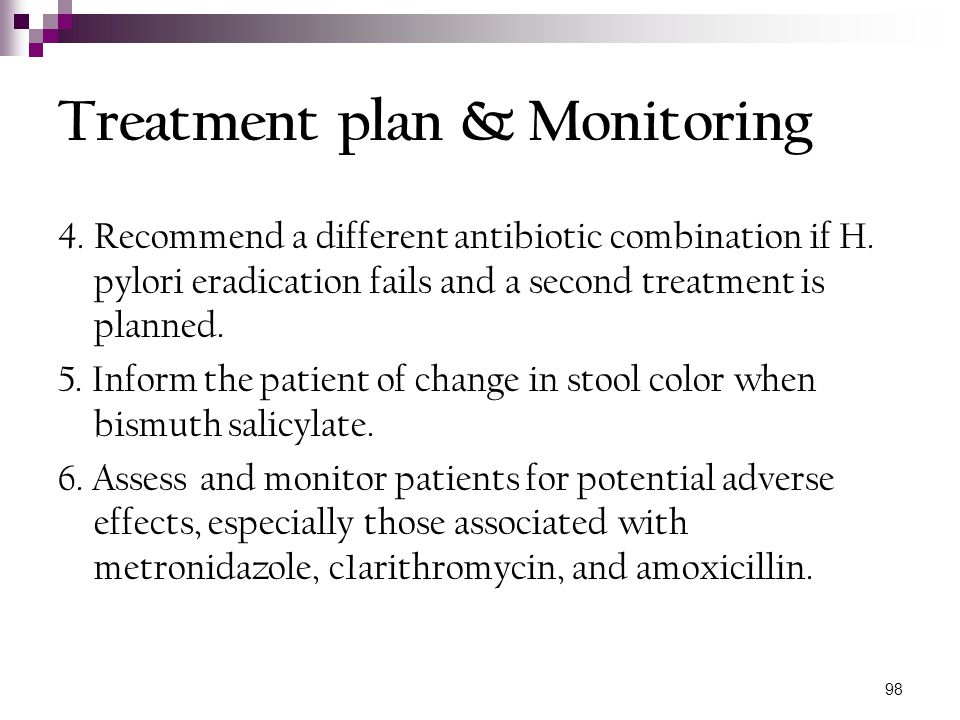 Treatment plan & Monitoring 4. Recommend a different antibiotic combination if H. pylori eradication fails and a second treatment is planned. 5. Infor