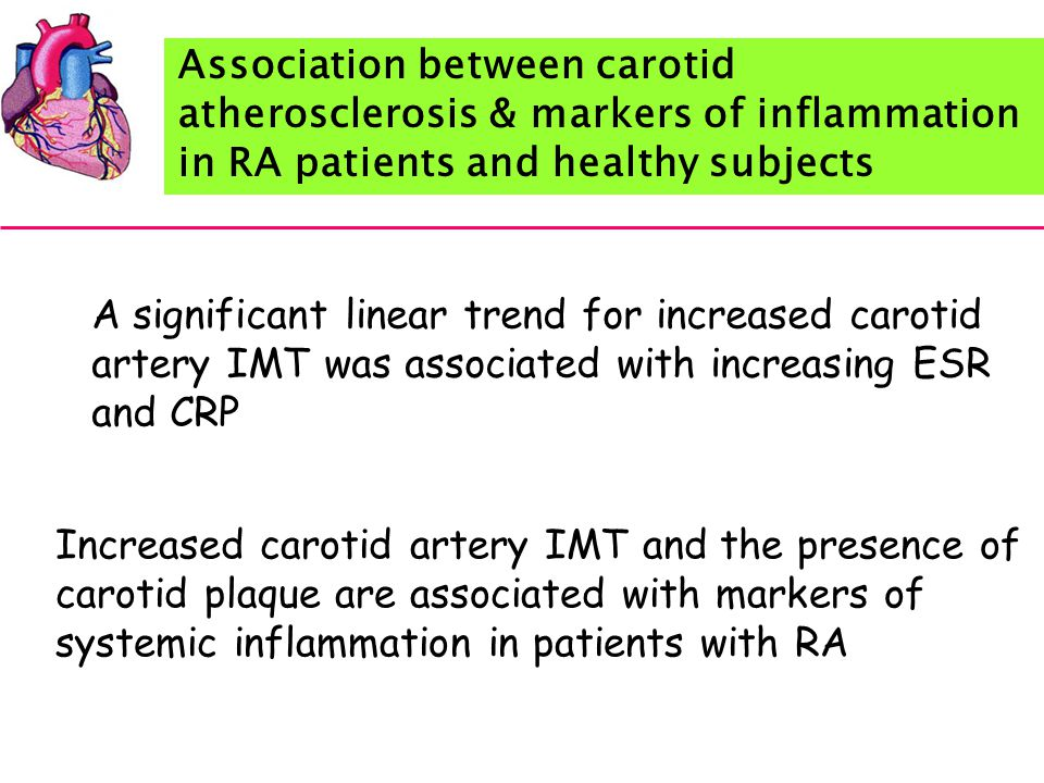 Association between carotid atherosclerosis & markers of inflammation in RA patients and healthy subjects A significant linear trend for increased carotid artery IMT was associated with increasing ESR and CRP Increased carotid artery IMT and the presence of carotid plaque are associated with markers of systemic inflammation in patients with RA
