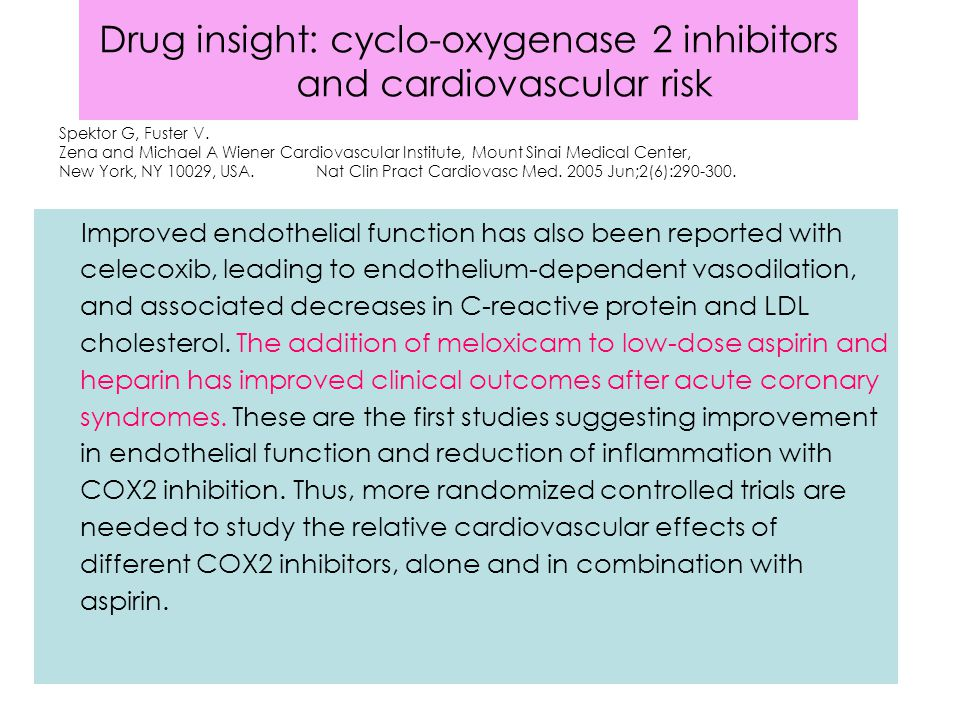 Drug insight: cyclo-oxygenase 2 inhibitors and cardiovascular risk Improved endothelial function has also been reported with celecoxib, leading to endothelium-dependent vasodilation, and associated decreases in C-reactive protein and LDL cholesterol.