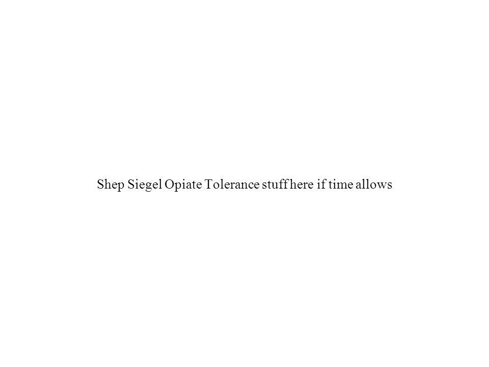 Shep Siegel Opiate Tolerance stuff here if time allows
