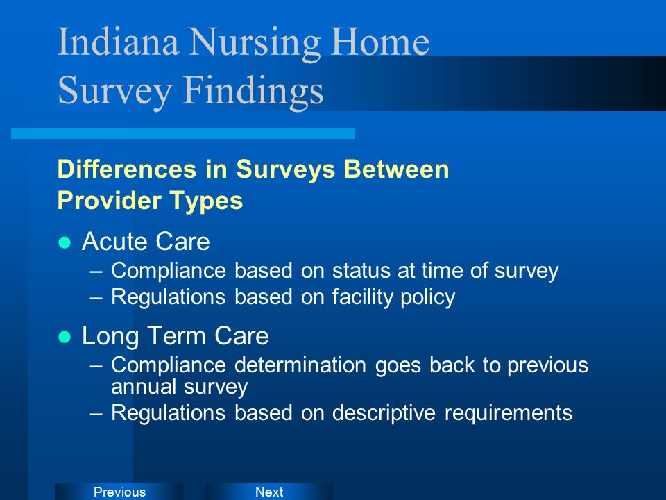 NextPrevious Indiana Nursing Home Survey Findings Differences in Surveys Between Provider Types Acute Care –Compliance based on status at time of survey –Regulations based on facility policy Long Term Care –Compliance determination goes back to previous annual survey –Regulations based on descriptive requirements