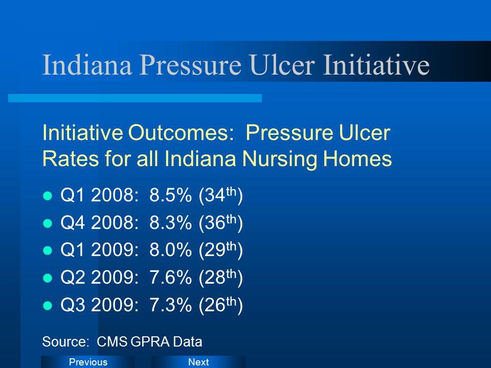 NextPrevious Indiana Pressure Ulcer Initiative Initiative Outcomes: Pressure Ulcer Rates for all Indiana Nursing Homes Q1 2008: 8.5% (34 th ) Q4 2008: 8.3% (36 th ) Q1 2009: 8.0% (29 th ) Q2 2009: 7.6% (28 th ) Q3 2009: 7.3% (26 th ) Source: CMS GPRA Data