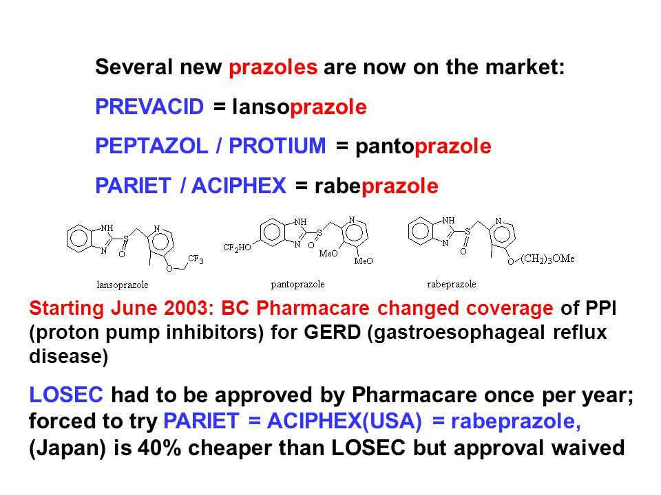 Several new prazoles are now on the market: PREVACID = lansoprazole PEPTAZOL / PROTIUM = pantoprazole PARIET / ACIPHEX = rabeprazole Starting June 2003: BC Pharmacare changed coverage of PPI (proton pump inhibitors) for GERD (gastroesophageal reflux disease) LOSEC had to be approved by Pharmacare once per year; forced to try PARIET = ACIPHEX(USA) = rabeprazole, (Japan) is 40% cheaper than LOSEC but approval waived