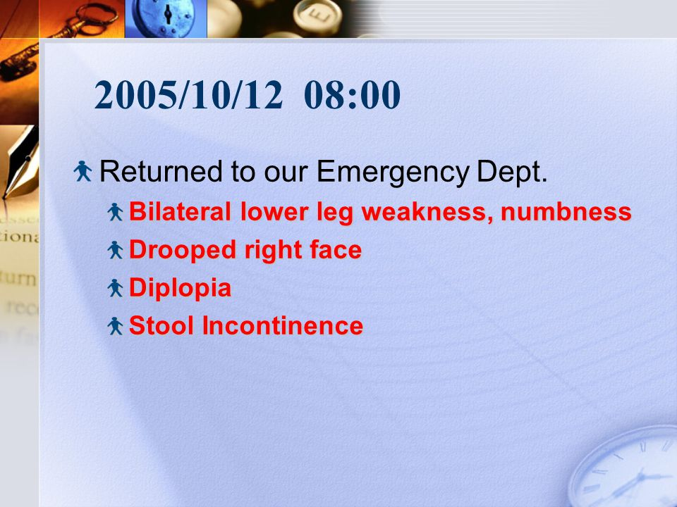2005/10/12 08:00 Returned to our Emergency Dept.